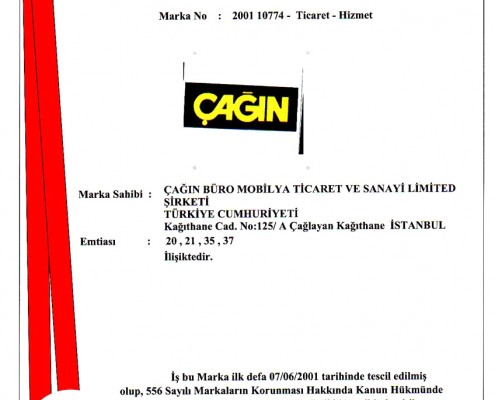 Cagin Trademark Registration Certificate