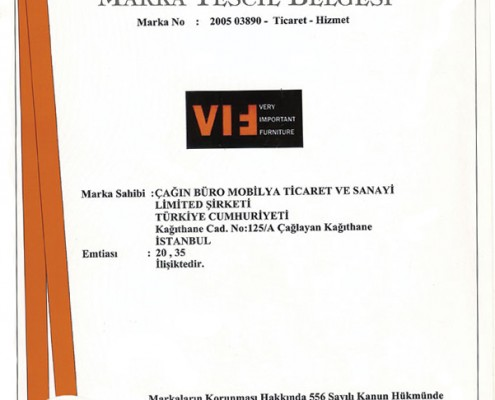 VIF Trademark Registration Certificate
